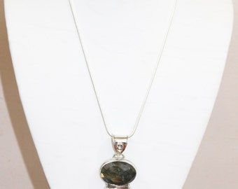 dalmatian smoky quartz with sterling silver necklace