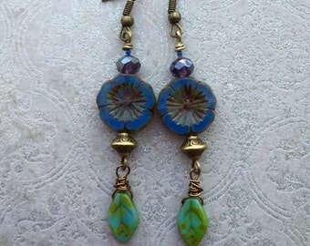 Blue Pansy Boho Czech Glass Earrings