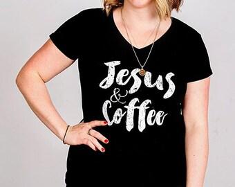 Jesus & Coffee womens cut T-shirt