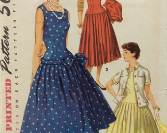 Simplicity 1077 misses dress, jumper and jacket size 14 bust 32 vintage 1950's sewing pattern