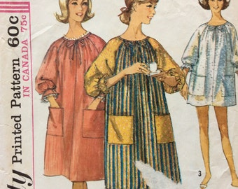 Simplicity 6074 vintage 1960's misses coverup duster robe sewing pattern size small bust 31-32