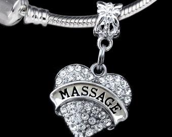 Massage charm fits european style bracelet and necklace Massage gift Masseuse gift Massause charm Masseuse jewelry