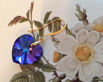 Heliotrope Swarovski crystal heart earrings