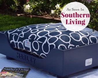 Wood Dog Bed || As Seen in Southern Living Magazine || Medium Large || Custom Cushion || Any Color || Wooden Dog Bed Frame || Stylish