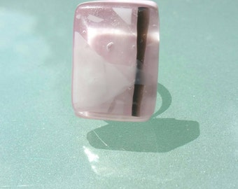 jewelry pink, pink Adjustable ring pink fusing glass handmade