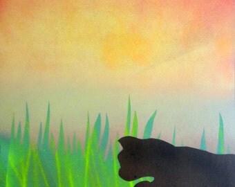 Acrylic Spray Paint Art - Animal - Pouncing Cat