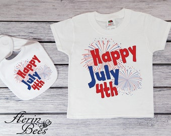 Happy July th Toddler Tee; Happy 4th of July Baby Bodysuit;  Fourth of July; Independence Day Youth Shirt; Happy July 4th Baby Bib; *JF1544