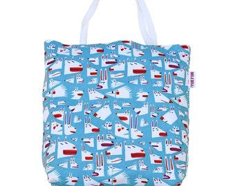 Illustrated shopper bag, all over print bag, illustration print bag, animal tote bag, fun tote bag, cute bag, oversize tote bag
