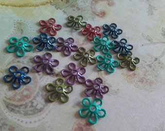 Brass flower bead caps Boho Chic Colour washed patina  UK Seller UKshop