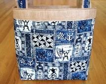 Jumbo Tote Bag Hawaiian Blue, Black Petroglyphs Warrior Men Sea Turtle Honu Tribal Tapa Block 100% Cotton, Burlap, Denim Pocket, REVERSIBLE!
