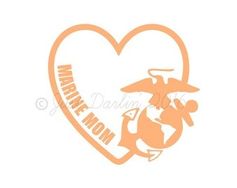 Marine Mom Decal - Mom Decal - Military Mom Decal - USA Decal - I Love My Marine - Armed Forces - Window Decal - Laptop Decal - EGA Decal
