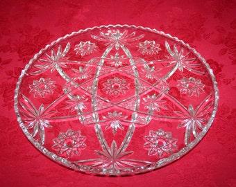 Vintage Achor Hocking Cut Glass Round Platter