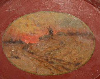 Antique Hand Made Metal Serving Tray Windmill Landscape
