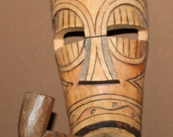 Vintage Hand Carving Wood Wall Decor Mask With Pipe