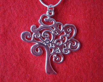 "Silver plated Tree of Life pendant on 18"" 925 Sterling silver snake chain - 1.5"" x 1.25"" - lovely gift!"
