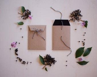 5x7 envelopes with black liner and black baker's twine - set of 5