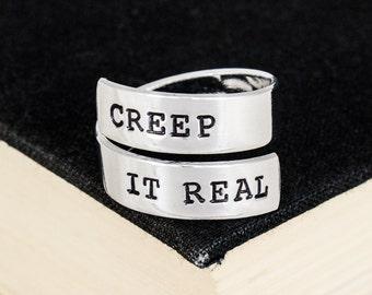 Creep It Real Ring - Halloween - Creepy - Goth - Horror - Aluminum Wrap Ring