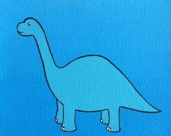 "Baby Brontosaurus 4""x4"" acrylic painting on canvas, blue dinosaur over a blue background"