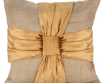 Mustard Burlap Bow Pillow Cover Marriage Reception Party Bow Pillow Shams with Bows 14x14 16x16 18x18 20x20 22x22 24x24 26x26