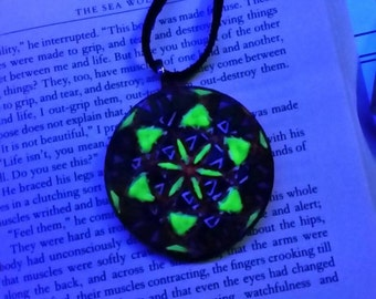 Black Light Sensitive Seed of Life Necklace, Hand Painted Pendant, Sacred Geometry Pendant