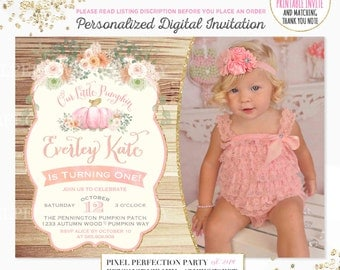 Pumpkin Invitation Girl Shabby Chic Pumpkin Invitation Rustic Pumpkin Invitation Floral Pumpkin 1st Birthday Invitation Pumpkin 1st Birthday