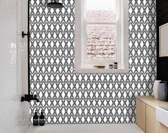 Tile Decals - Tiles for Kitchen/Bathroom Back splash - Floor decals - Moroccan Casablanca Vinyl Tile Sticker Pack Black & White