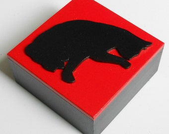 Cat Silhouette Trinket/treat/Gift/Keepsake Box