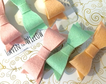 Sweet Gelato || Felt Hair Bow Set. 100% Merino Wool Pink Peach Mint Clips