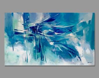 Abstract painting blue brown yellow by artoosh on etsy - Pintura azul turquesa ...