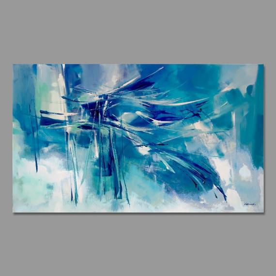 Turquesa azul verde la pintura abstracta moderna pintura for Pintura verde turquesa