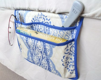 bed pocket, bed caddy, storage organizer, bed tidy, bed organizer, bed storage, denim blue and cream cotton fabric