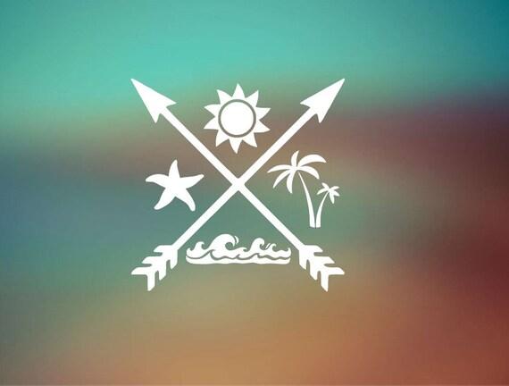 Beach Life Summer Fun Decal Wave - Starfish - Palm Tree - Sun Icon - Car Sticker - Laptop Decal - Laptop Sticker
