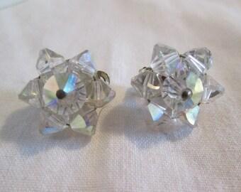 Clear Crystal Aurora Borealis Flower Clip-On Earrings