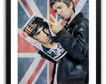 Noel Gallagher Oasis Union Jack Framed Poster Art Print Illustration A2
