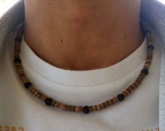 Men Surfer Necklaces Men's Choker, Lava Necklace Coco Wood Necklaces Coconut Necklace Summer Men Necklaces