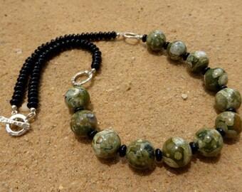 Rhyolite Necklace Black Agate Sterling Silver Karen Hill Tribe Silver Green Gemstone Jewellery Designer Artisan Statement Rainforest Jasper