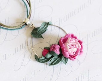 Pink peony necklace. Pink flowers necklace. Hoop necklace. Polymer clay jewelry. Plant necklace. Peony Jewelry Pink flower jewelry for world