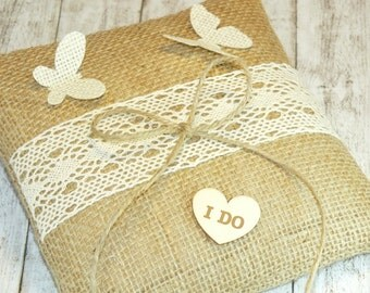 Rustic wedding Ring Bearer Pillows,Ring pillow,Wedding Ring Pillow,I DO Ring pillow, Wedding Ring Pillow with heart