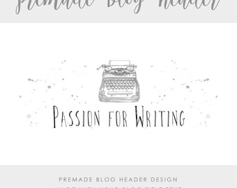 Premade Blog & Website Header - Design #2 - Made with text and colors of your choice