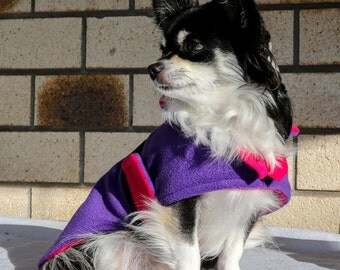 Dog Coat in pink and purlpe polar fleece for small dogs with collar