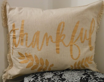 Thankful Fringe Throw Pillow