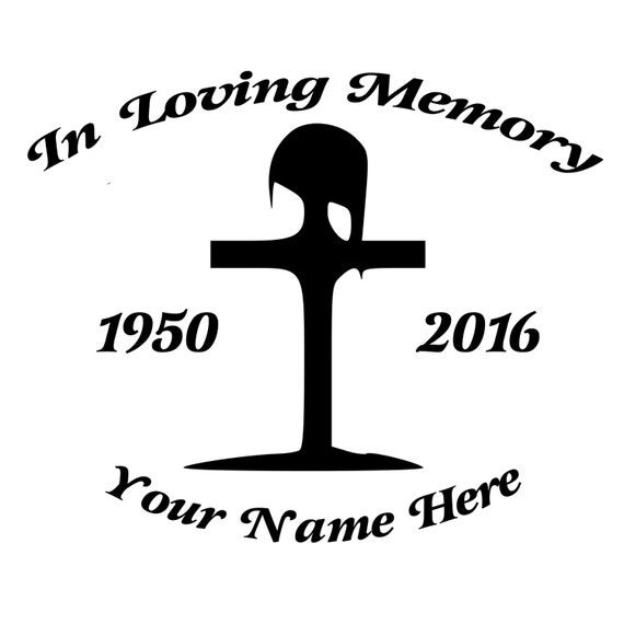 In Loving Memory Fallen Soldier Cross Die-Cut Decal Car Window