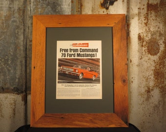 vintage ford mustang life mag ad framed with reclaimed oak rustic frame 16x20 reclaimed wood frame wall frame
