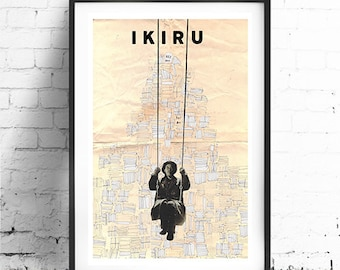 IKIRU, Original Art, Minimalist Movie Poster Print 24 x 36""