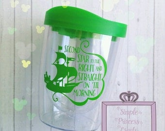 """Second Star to the Right """"Peter Pan"""" inspired wine tumbler"""