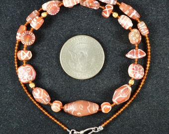 Ancient Etched Carnelian Beads Necklace Persian,Bactrian,Light Orange Oval,Tabular,Round Beads, Ancient 004