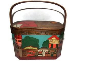 alabama purse - basket purse - hand painted purse - 1960s purse