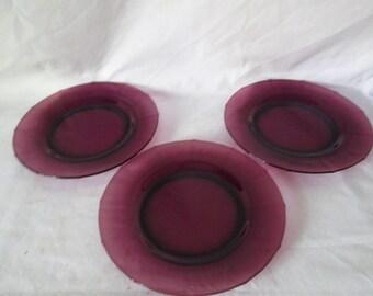 "Vintage set of 3 amethyst glass luncheon plates purple paneled plates 8"" across"