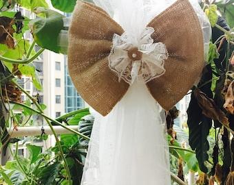 1pc  Vintage Tulle  Burlap Lace Bows Pew Chair bow Pew Bows Rustic burlap Wedding Decor
