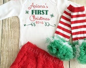 Personalised First Christmas Outfit  - Bodysuit Bloomers Leg Warmers Onesie Top Headband Baby Girl 1st Vest Personalized
